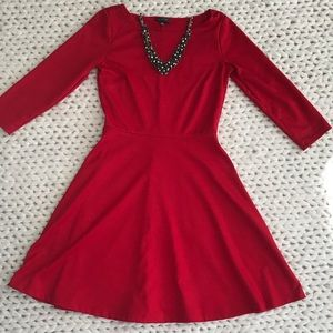 The Limited Fit and Flare Red Dress